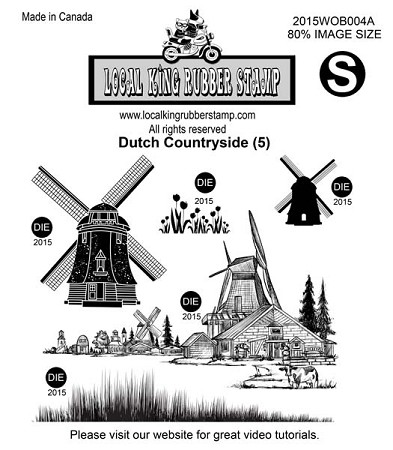 DUTCH COUNTRYSIDE (5) STATIC MOUNTED RUBBER STAMPS