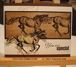 MUSTANGS (4) CLING MOUNT RUBBER STAMPS