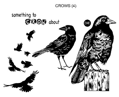 Crows 4 Ez Mount Rubber Stamps
