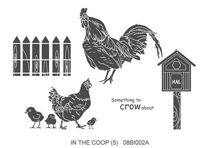 IN THE COOP  (5) CLING MOUNTED RUBBER STAMPS