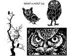 WHAT A HOOT (4) CLING MOUNTED RUBBER STAMPS