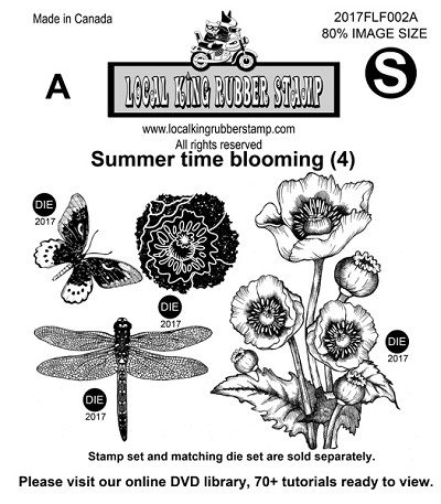 Summer Time Blooming (4) EZ mounted stamp set
