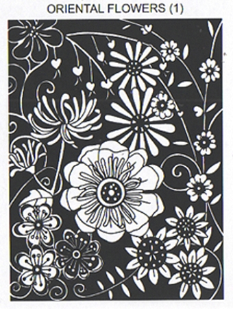 Oriental Flowers 1 Static Mounted Rubber Stamp