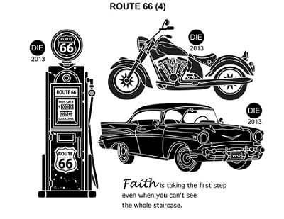 ROUTE 66 (4) STATIC MOUNTED RUBBER STAMPS