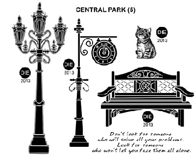 CENTRAL PARK (5) STATIC MOUNTED RUBBER STAMPS