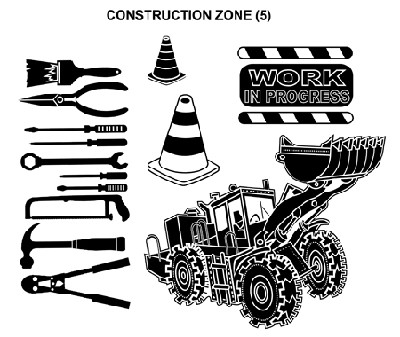 CONSTRUCTION ZONE (5) STATIC MOUNTED RUBBER STAMPS