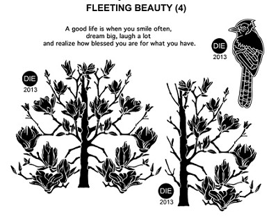 FLEETING BEAUTY  (4) STATIC MOUNTED RUBBER STAMPS