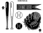 HOME RUNS (6) STATIC MOUNTED RUBBER STAMPS