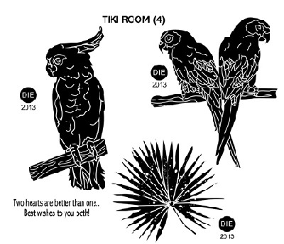 TIKI ROOM (4) STATIC MOUNTED RUBBER STAMPS