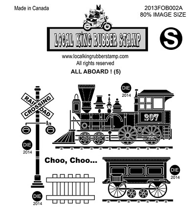 ALL ABOARD ! (5) STATIC MOUNTED RUBBER STAMPS