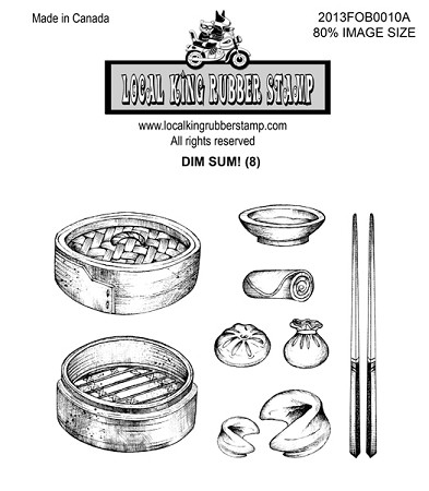 DIM SUM ! (8) STATIC MOUNTED RUBBER STAMPS