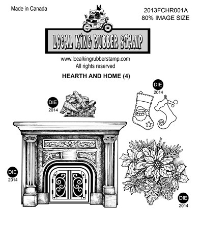 HEARTH AND HOME (4) STATIC MOUNTED RUBBER STAMPS