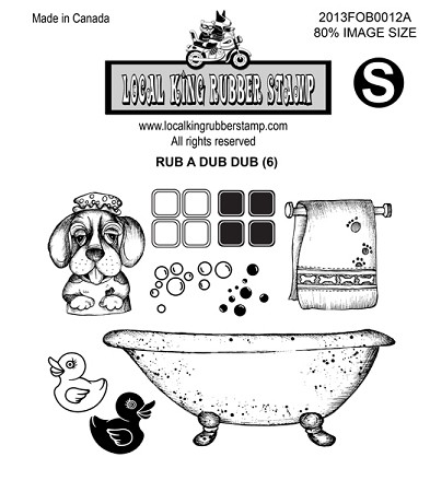 RUB A DUB DUB (6) STATIC MOUNTED RUBBER STAMPS
