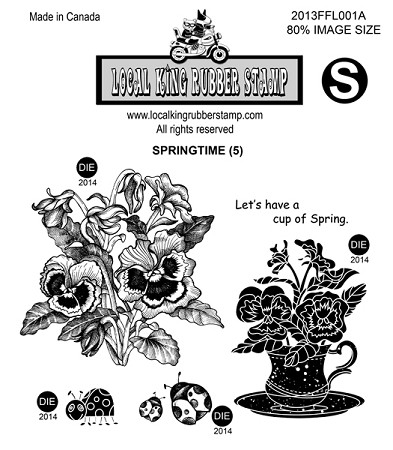 SPRING TIME (5) STATIC MOUNTED RUBBER STAMPS