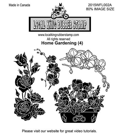 HOME GARDENING (4) STATIC MOUNTED RUBBER STAMPS