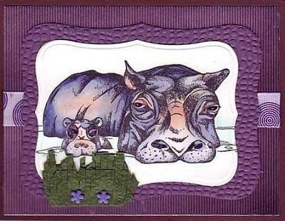 HIPPOPOTAMUSES (5) STATIC MOUNTED RUBBER STAMPS