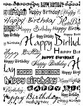 HAPPY BIRTHDAY 1 STATIC MOUNTED RUBBER STAMP
