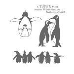 PENGUIN (4) CLING MOUNTED RUBBER STAMPS