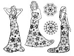 FLORAL LADIES (5) STATIC MOUNTED RUBBER STAMPS