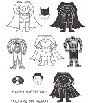 YOU ARE MY HERO (9) STATIC MOUNTED RUBBER STAMPS