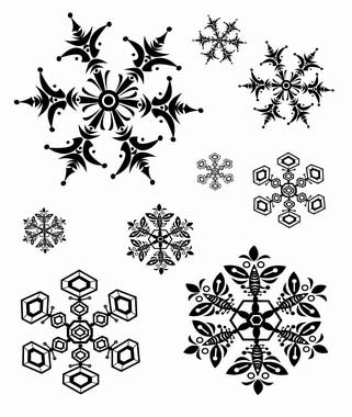 SNOWFLAKES (9) STATIC MOUNTED RUBBER STAMPS