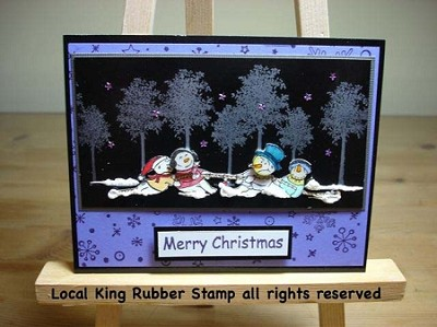 SNOW FUN (6) STATIC MOUNTED RUBBER STAMPS