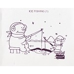 ICE FISHING (1) CLING MOUNTED RUBBER STAMP