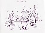 ICE SKATING (1) CLING MOUNTED RUBBER STAMP
