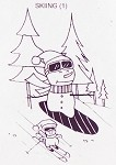 SKIING SNOWMAN (1) CLING MOUNTED RUBBER STAMP