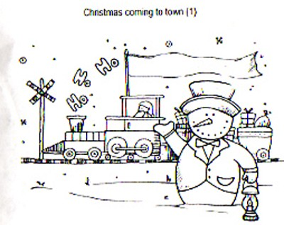 CHRISTMAS COMING TO TOWN (1) CLING MOUNTED RUBBER STAMP