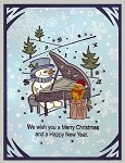 CHRISTMAS MELODIES  (4 ) STATIC MOUNTED RUBBER STAMPS