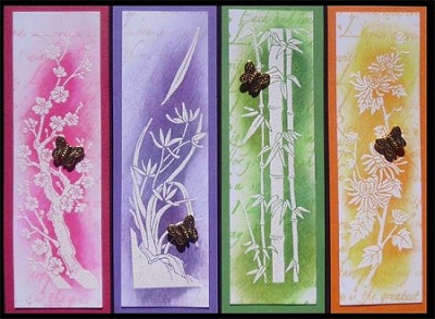 CHINESE FLOWERS 2 DETAIL (4) CLING MOUNTED RUBBER STAMPS