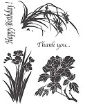 SHADOW FLOWERS 1 (5) CLING MOUNTED RUBBER STAMPS
