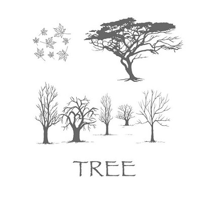 TREE 1 (4) CLING MOUNTED RUBBER STAMPS