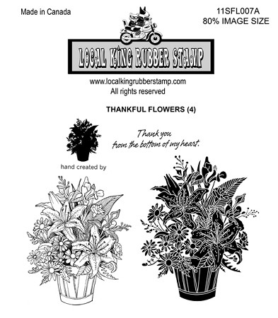 THANKFUL FLOWERS (4) CLING MOUNTED RUBBER STAMPS