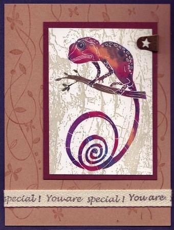 SOUTHWEST LIZARD  (4) CLING MOUNTED RUBBER STAMPS