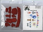 Party time (9) static mounted red rubber stamps set